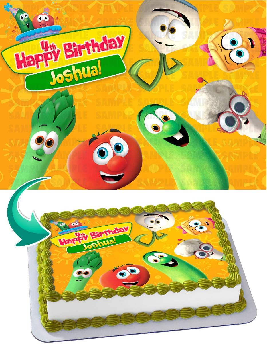 Terrific Veggietales Edible Image Cake Topper Party Personalized 1 4 Sheet Personalised Birthday Cards Veneteletsinfo
