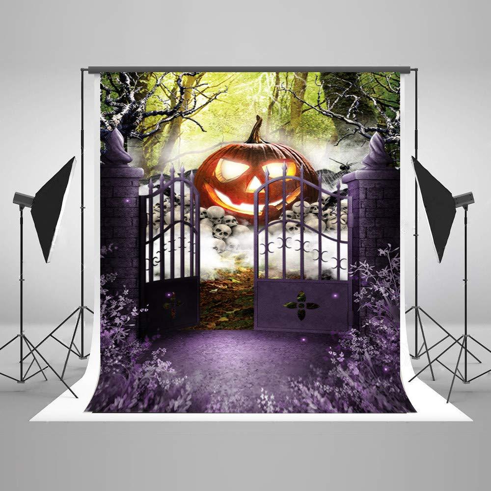 写真撮影用背景幕 10x10フィート 魅惑的な森の写真 背景 ハロウィン パープル 花の背景 パーティー 写真 屋外 シーン ハロウィン 背景   B07GFPM5ST