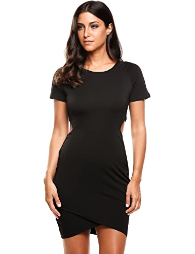 ACEVOG Women's Short Sleeve T-shirt Dress Irregular Hem Bodycon Pencil Club Dress