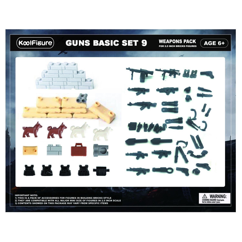 koolfigure ™ Swat Weapon Set , Designed for建物ブロックミニフィギュア警察官ベスト、バックパック、Sandbags点、壁、ピース、犬、ak47ガン、ツールセット B0786G8M47