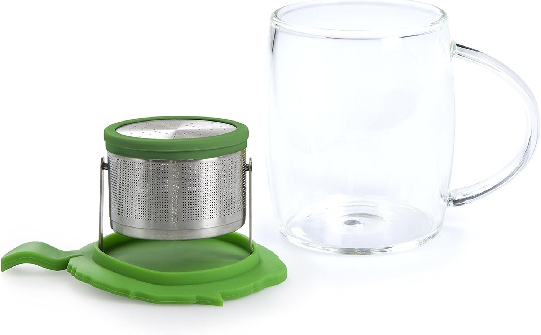 Charles Viancin Silicone Tea Range Camellia Glass Mug and Tip Tea Strainer set