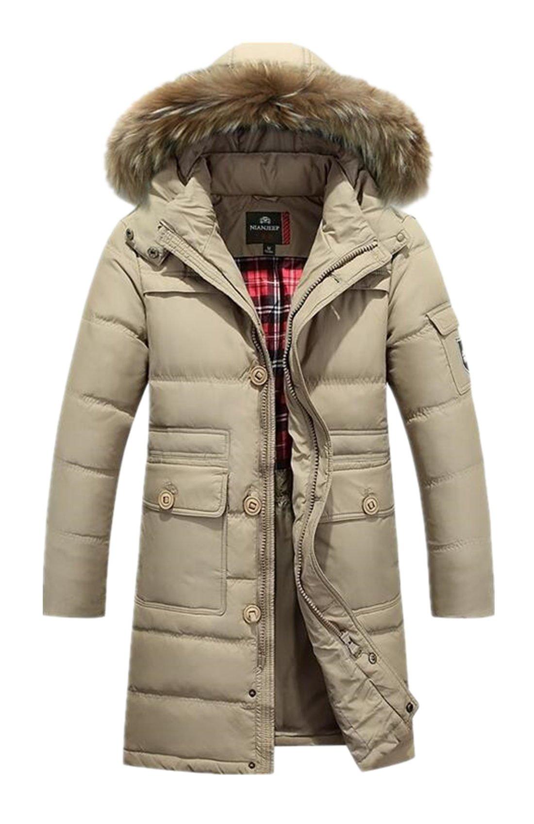 Lingswallow Men's Winter Thicken Khaki Faux Fur Hooded Long Down Jacket Coat