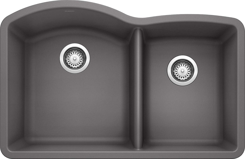 Blanco 441469 DIAMOND SILGRANIT 32 Double Bowl Undermount, Cinder Kitchen Sink, 9.50 x 19.00 x 32.00 inches