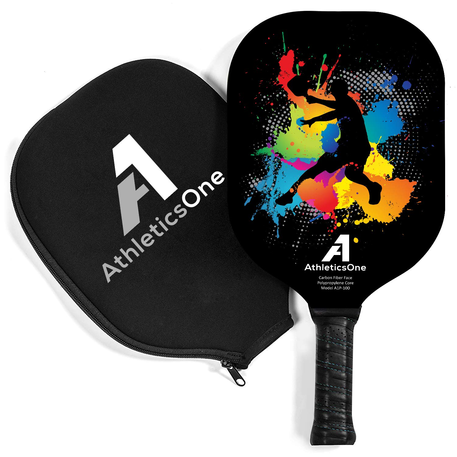 Polymer Honeycomb Core Premium Neoprene Cover Included. AthleticsOne Pickleball Paddle Graphite Face Lightweight with The Perfect Balance Between Power and Ball Control