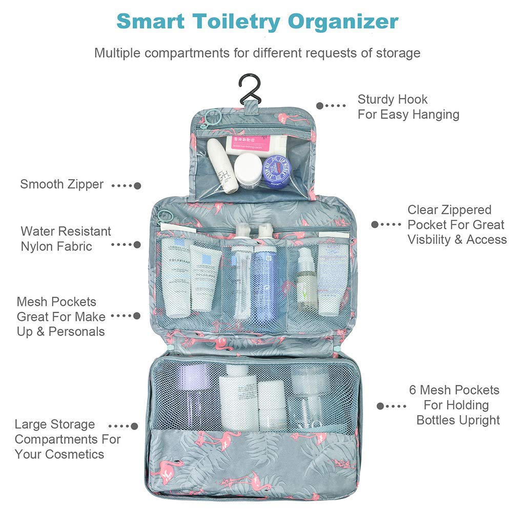 AIDIAN Toiletry Bag Travel Makeup Organizer with Sturdy Hook Water-resistant for Accessories, Full Sized Container, Toiletries Brushes Blue Flamingo : Beauty