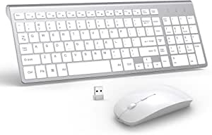 Wireless Keyboard Mouse, 2.4G USB Thin Wireless Combo Rechargeable Mouse for Mac, Laptop,Desktop,Notebook,Computer,Smart TV -White+Silver