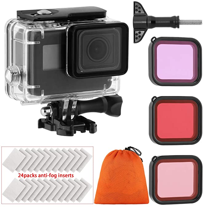 Housing Case Filter Kit for GoPro Hero 7 Hero 6 Hero 5 Black Hero, Waterproof Case Diving Protective Housing Shell + 3 Pack Filter + 24 Anti-Fog ...