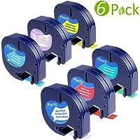 6 Ruban pour Dymo LetraTag Plastique Bande d'étiquettes 12mm x 4m, Noir sur Blanc/Transparent/Rouge/Jaune/Bleu/Vert Cassettes Compatible pour LT-100T LT-100H Étiqueteuse Portable