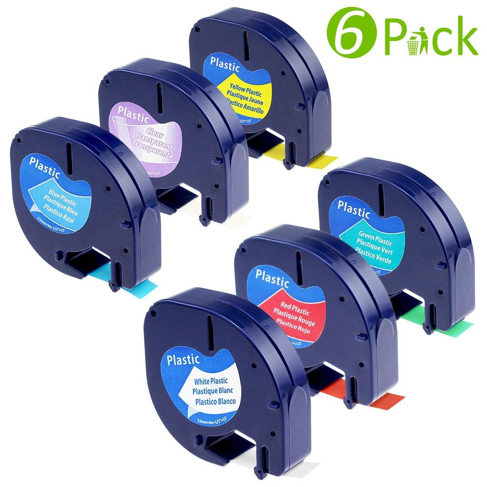 5PK Compatible Dymo LetraTag Ruban Plastique - 12mm x 4m 91201 S0721610 - Noir sur Blanc pour Étiqueteuse Dymo LetraTag LT-100H LT-100T LT-110T QX 50 XR XM 2000 Plus Fimax A91201-5