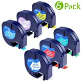 Compatibile Dymo LetraTag Plastic Label Tape (12 mm x 4 m, Black on Transparent/ White/ Yellow/ Red/ Green/ Blue), 6-Pack
