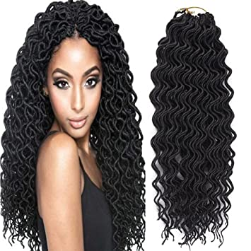 Amazoncom Yonova 6 Packs Curly Faux Locs Crochet Hair Deep Wavy