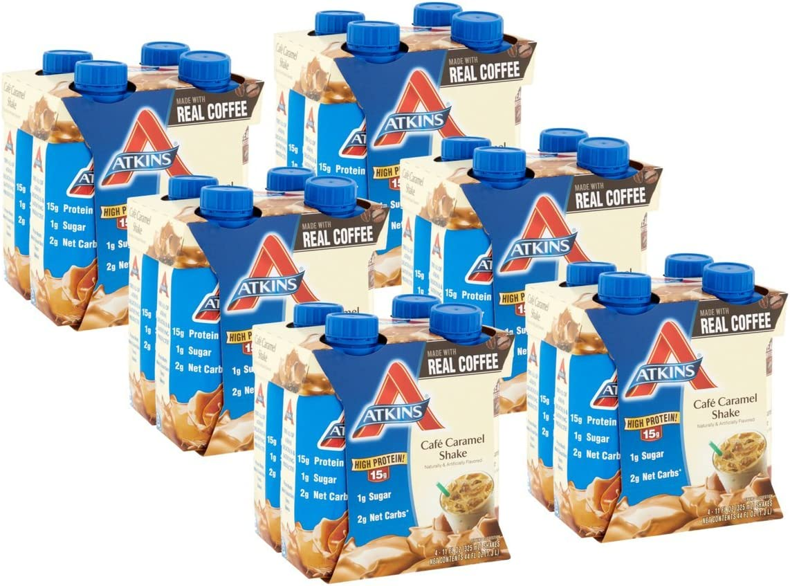 Atkins Ready To Drink Shake, Caf Caramel, 11 Ounce, 4 Count Pack of 6