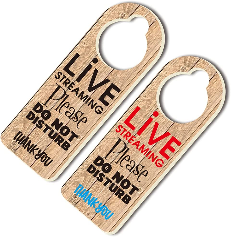 Live Streaming Do Not Disturb Door Hanger Sign (Double Sided), Ideal for Using in Any Room, Online Virtual Work From Home Gift
