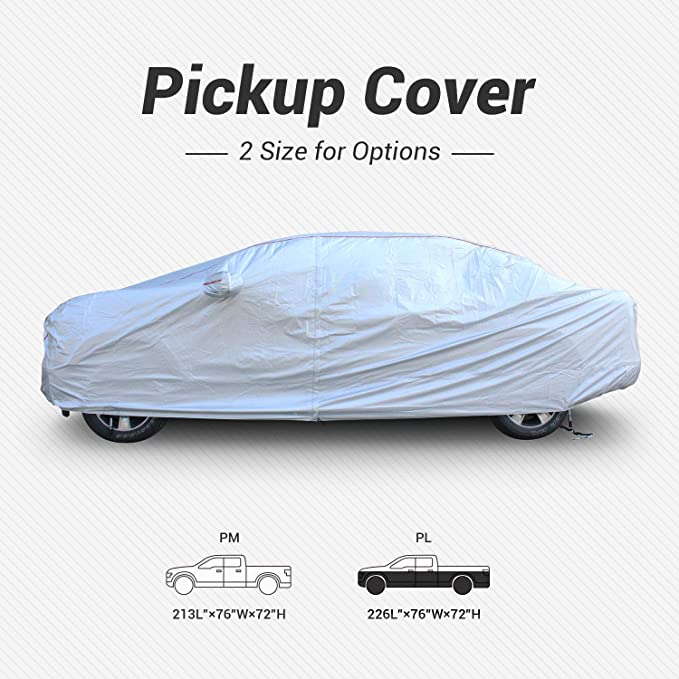 Tecoom Hard Shell Oxford Material Waterproof UV-Proof Windproof Zipper Design with Straps and Buckles Antenna Patch Truck Pickup Cover for All Weather Outdoor Fit Pickup Length Up to 215 Inches