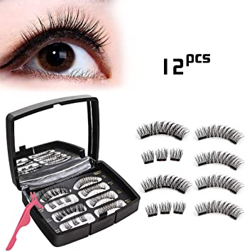 aebfd888055 Amazon.com : Magnetic Eyelashes 3/2 Magnets Full Eyes No Glue Reusable Fake  Lashes Extensions Set 3D Ultra Thin Lightweight Premium Silk Natural Look  Soft ...