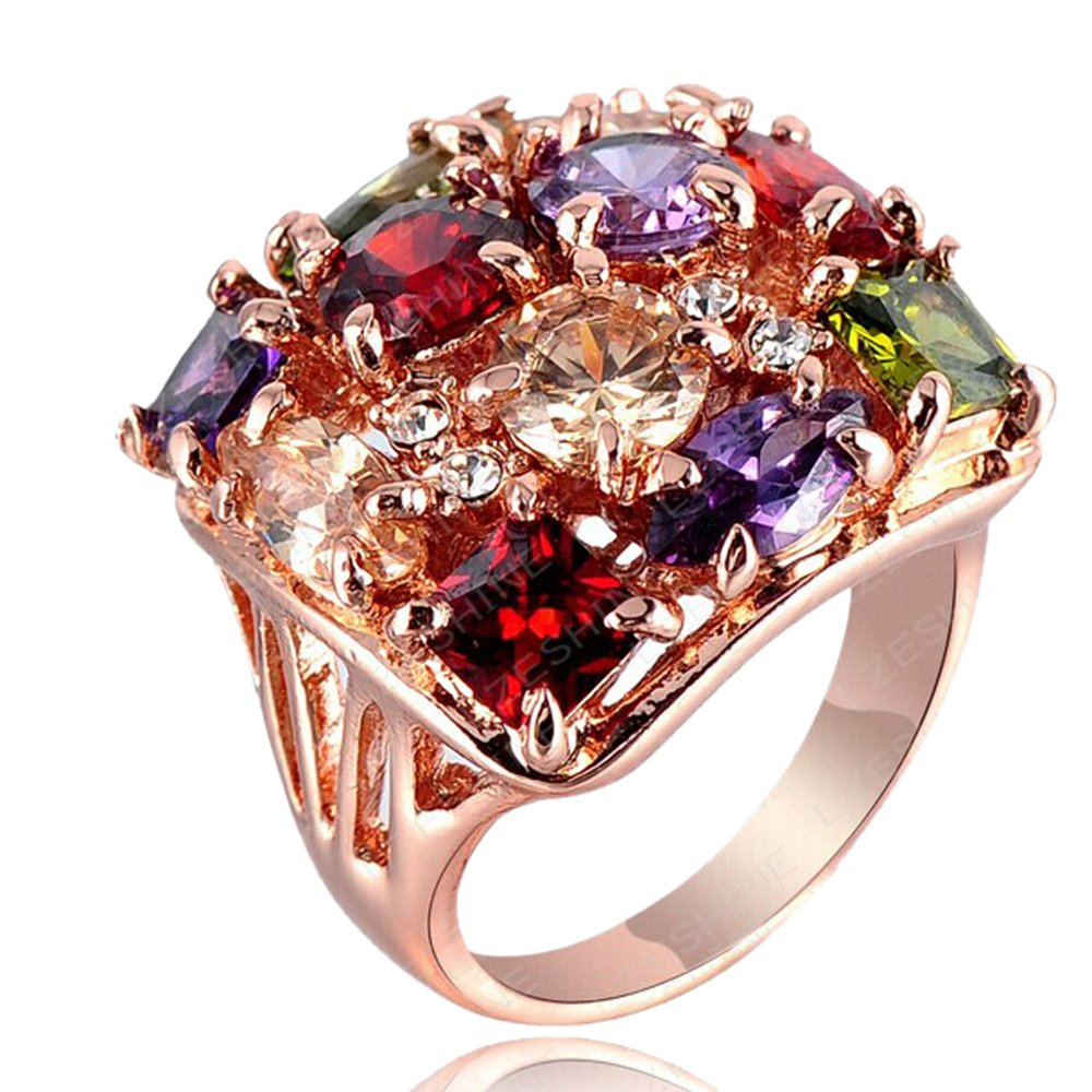 2016 New Gold 18k Rose Gold Color Retention Austrian Crystal Square Ring 0284 (17mm)