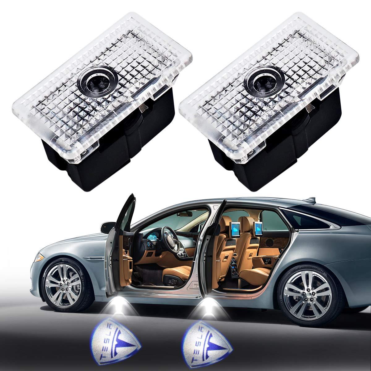 2Pcs Car Door LED Logo Projector Light for Tesla, YANF Ghost Shadow Welcome Lights Ground Lamp Kit Courtesy Welcome Light Laser Symbol Emblem Logo Light