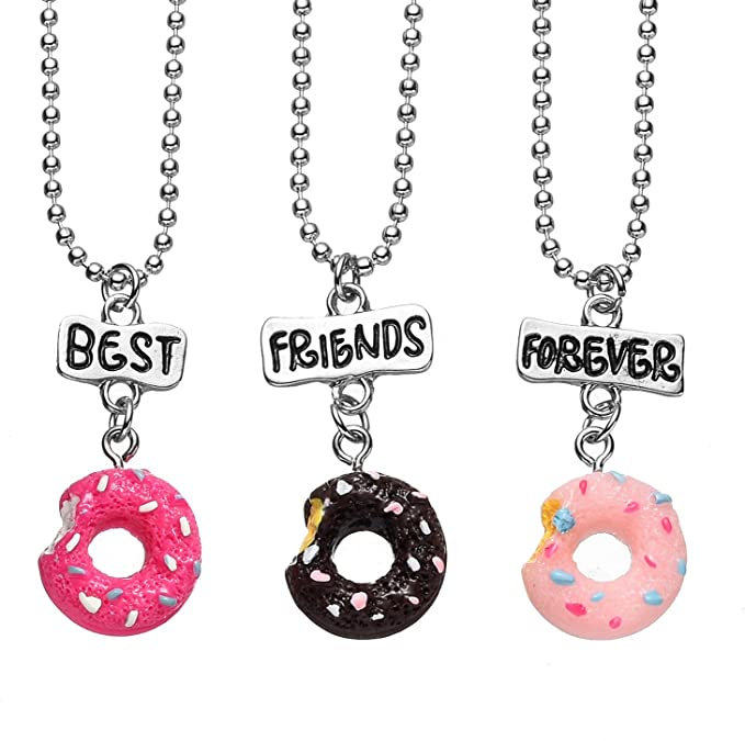 3 Packs Best Friends Forever Kids Children Resin Pendant Necklace