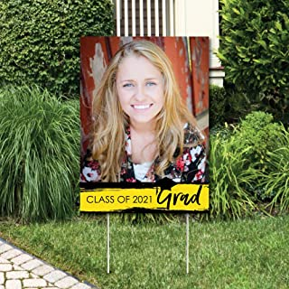 product image for Big Dot of Happiness Custom Yellow Grad - Best is Yet to Come - Photo Yard Sign - Yellow 2021 Graduation Party Decorations