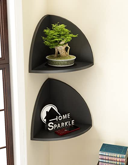 Home Sparkle Engineered Wood Corner Wall Shelf Set (26.5 cm x 19 cm x 19 cm, Black, Set of 2)