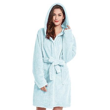 62eea1a2b9 Bathrobe XL Short Women Men Unisex Hooded Dressing Gown Microfibre Soft  Snug Cosy Fleece Babyblue Blue Sleepyhead  Amazon.co.uk  Kitchen   Home