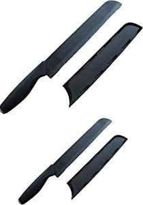 Set of 2 Advanced Ceramic Knives: 6 inch Serrated Tomato Knife and 8 Inch Serrated Bread Knife, by Cestari, Both Knives Include Safety Sheath and Luxury Gift Box - Never Needs Sharpening