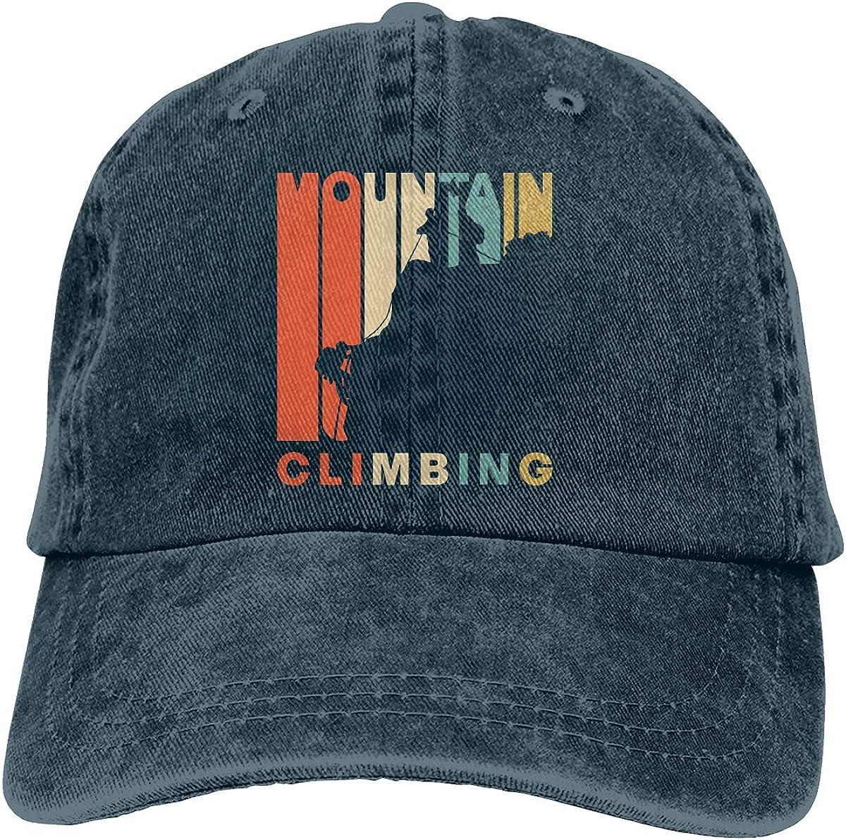 Vintage Style Mountain Climbing Mens Womens Adjustable Yarn-Dyed Baseball Cap Sports Hat