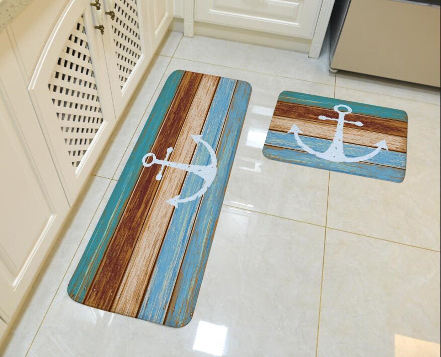 "Goodbath Kitchen Rugs, Retro Nautical Anchor Non Slip Kitchen Rug Set 2 Piece, 16"" x 48"" and 16"" x 24"", Brown and Turquoise (Anchor)"