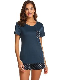 keelied Damen Schlafanzug O Neck Kurzarm Zweiteilig Sleepwear Pyjama Shorty  Set Mit Top und Short Nachtwäsche af11a97c3c