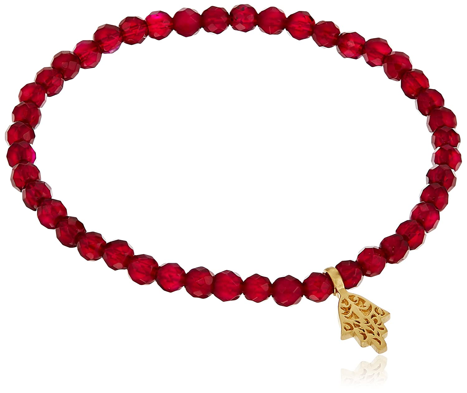 Satya Jewelry 4mm Fuchsia Agate Gold-Plated Hamsa Stretch Bracelet BG83-HAM