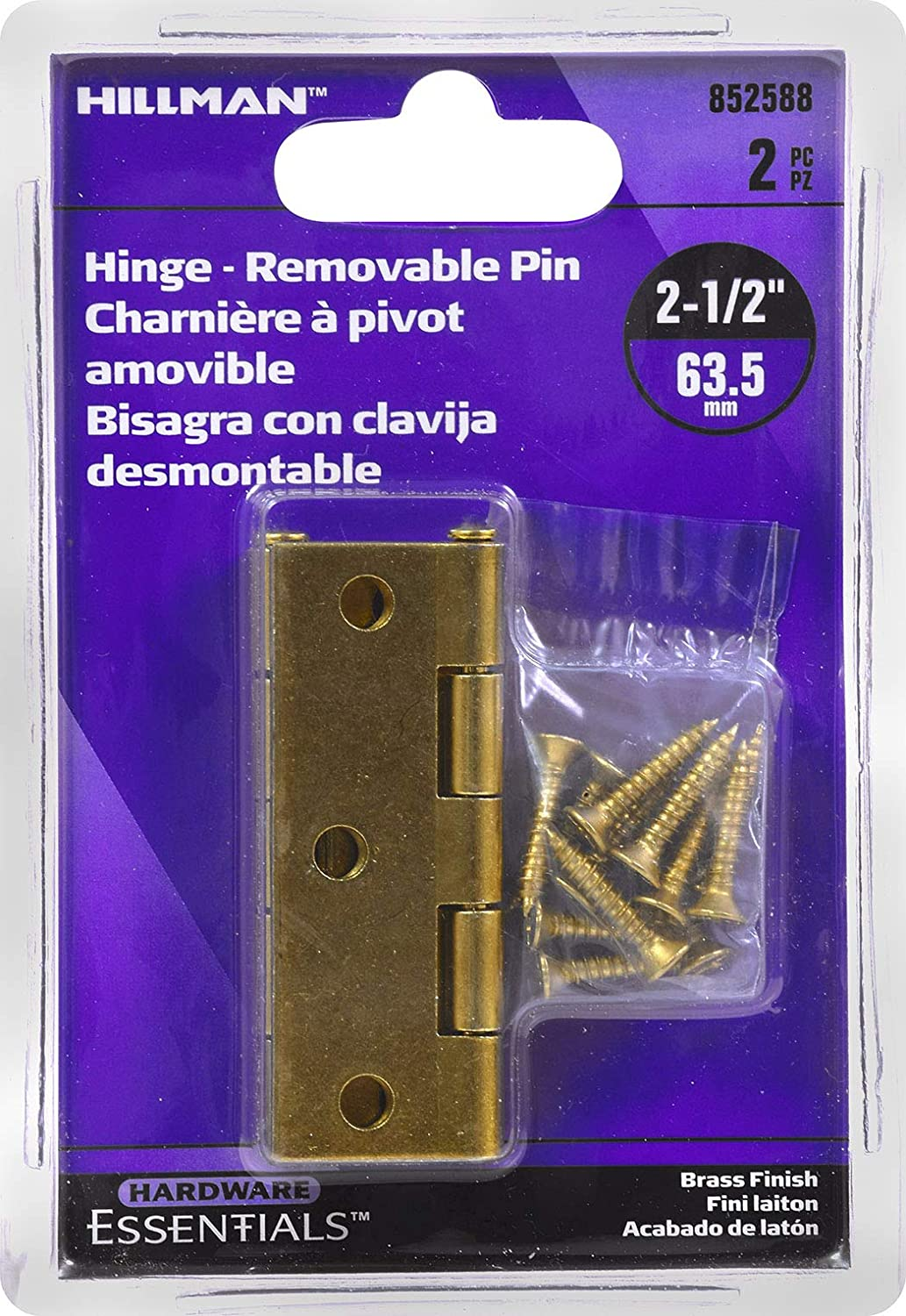 Hillman Hardware Essentials 852588 Light Narrow Door Hinges and Fixed Pin Brass 2-1//2-2 pack The Hillman Group