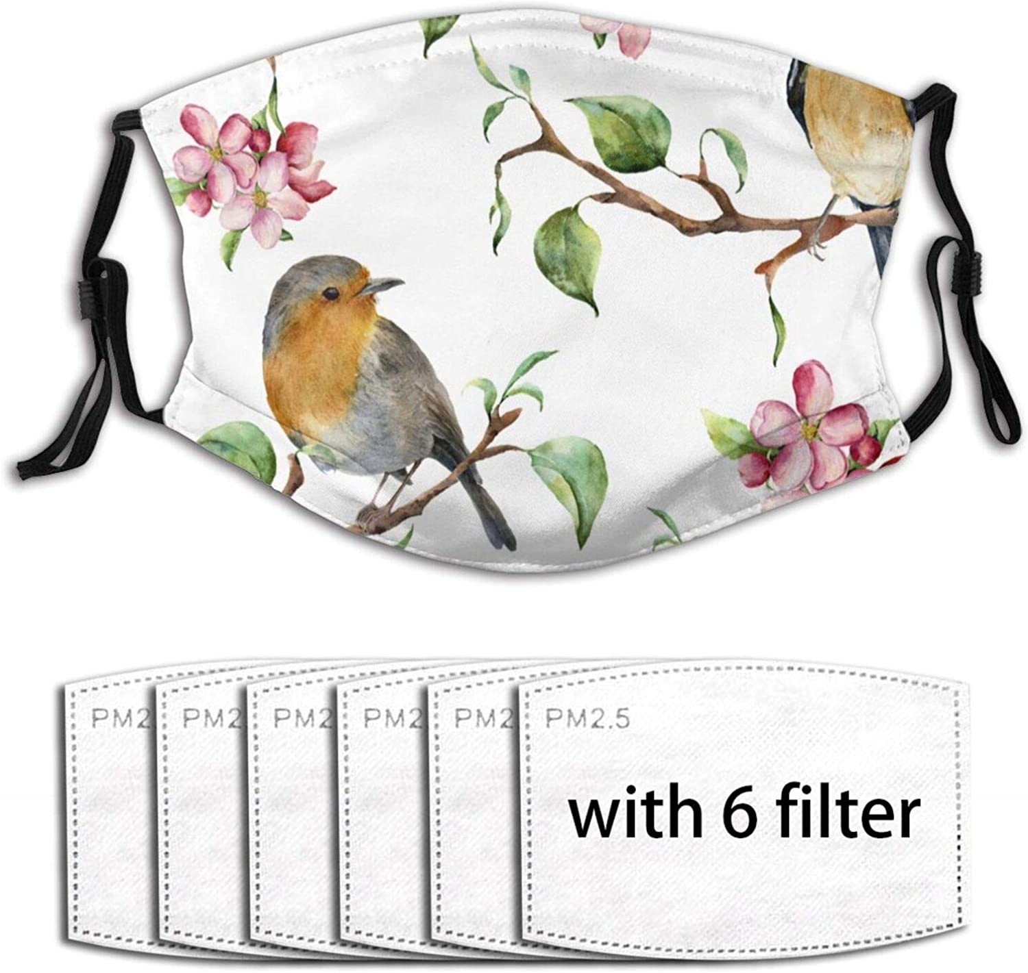 Tree Branches Birds and Apple Blossom Unisex Washable and Reusable Mouth Face Maskwarm Windproof Product