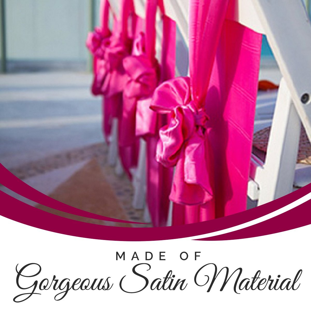 SPRINGROSE 50 Fuschia-Hot Pink Wedding Satin Chair Sashes. These Are a Wonderful Decoration for Your Chairs. Be Sure and Add Them to Your List of Party Supplies. by SPRINGROSE
