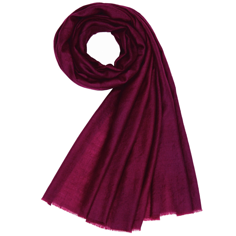 KASHFAB Kashmir Womens Mens Winter Fashion Solid Scarf, Handspun Cashmere Stole, Soft Long Shawl, Warm Pashmina Maroon 1