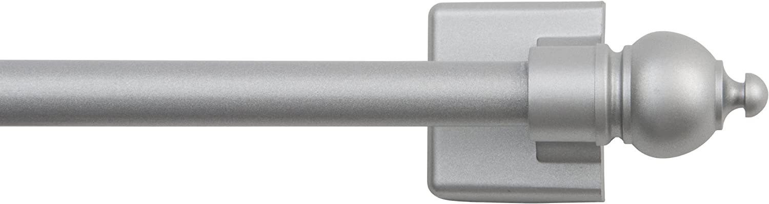 "Kenney Silver 7/16"" Multi-Use Adjustable Petite Cafe Magnetic Rod, 16-28"", Satin, 1"