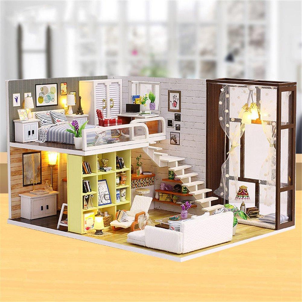 lennonsi Hand-Assembled Wooden Doll House Dream House