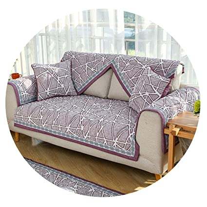 Amazon.com: Dark red Grey Geometric Design Sofa Cover ...