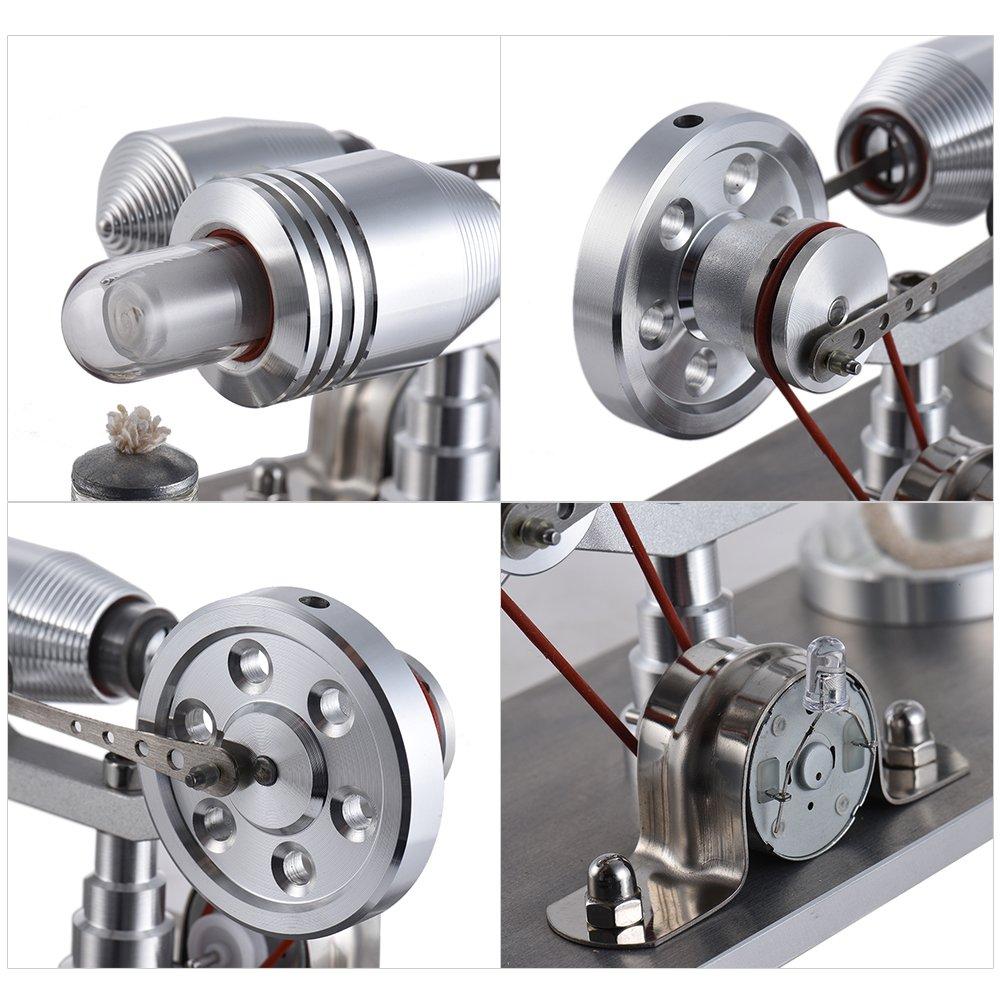 aibecy Mini Motore Stirling ad aria calda generatore di energia elettrica macchina con LED luce giocattolo educativo per exp/érimentation fisica