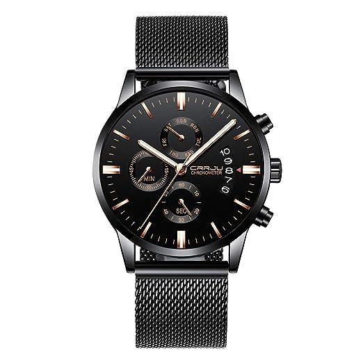 82fca7a867b6 Marca de lujo CRRJU Relojes para hombre Moda Impermeable Malla negra Correa  de acero inoxidable Analógico Cuarzo Cronógrafo Reloj de pulsera Clásico  Casual ...