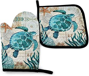 ACOGO Marine Life Theme Sea Turtle Heat Resistant Hot Oven Mitts & Pot Holders for Kitchen Gift Set with Non-Slip Textured Grip Set of 2, Oven Gloves for BBQ Cooking Baking, Grilling