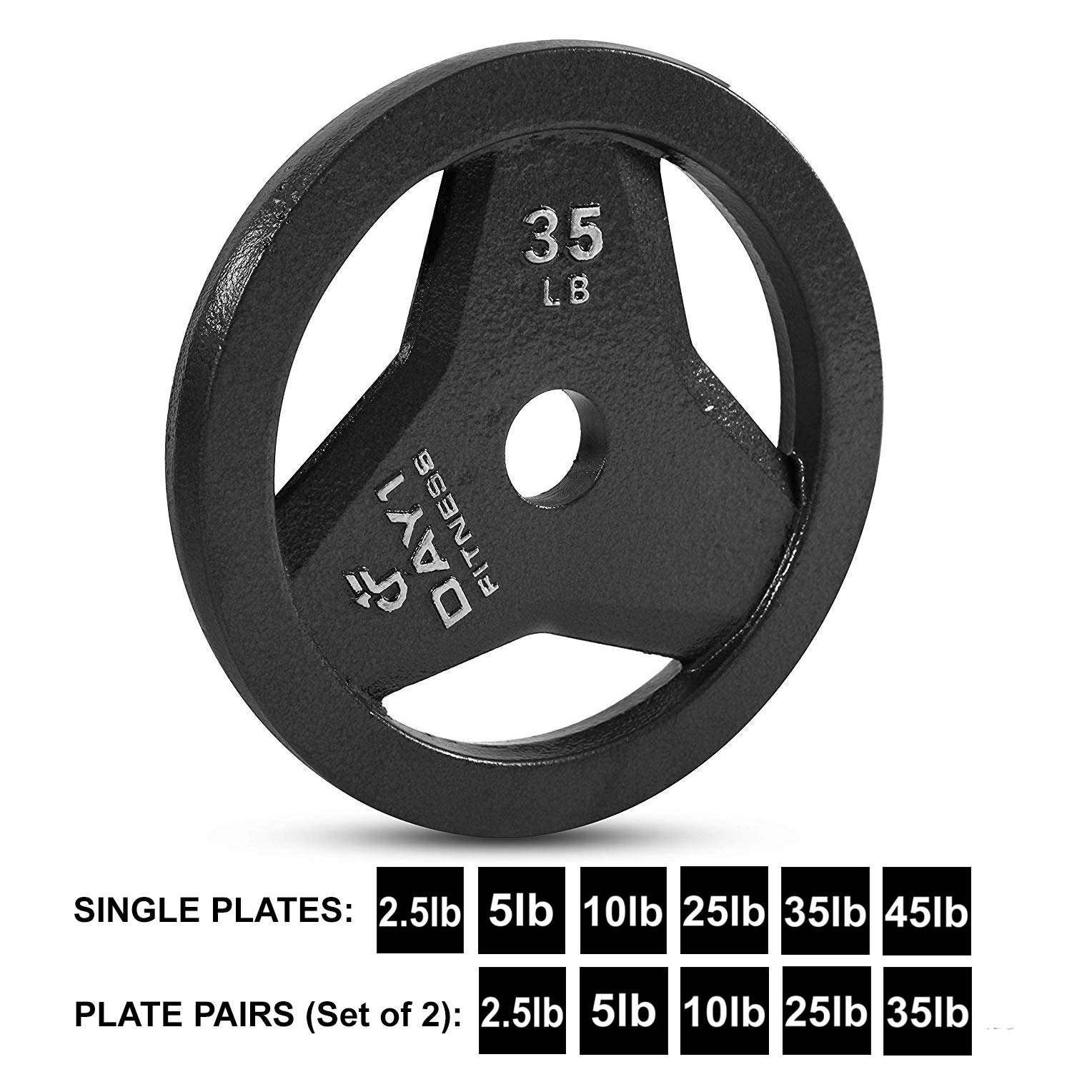 "Day 1 Fitness Cast Iron Olympic 2-Inch Grip Plate for Barbell, 35 Pound Single Plate Iron Grip Plates for Weightlifting, Crossfit - 2"" Weight Plate for Bodybuilding by Day 1 Fitness (Image #1)"