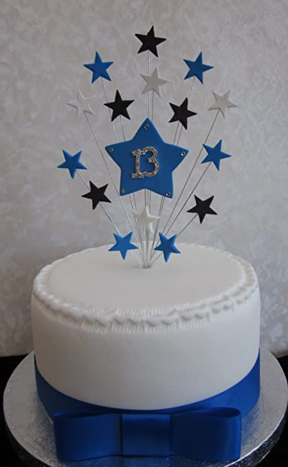13th Birthday Cake Topper Blue, Black And White Stars Suitable For A Small  Cake Or Cupcake