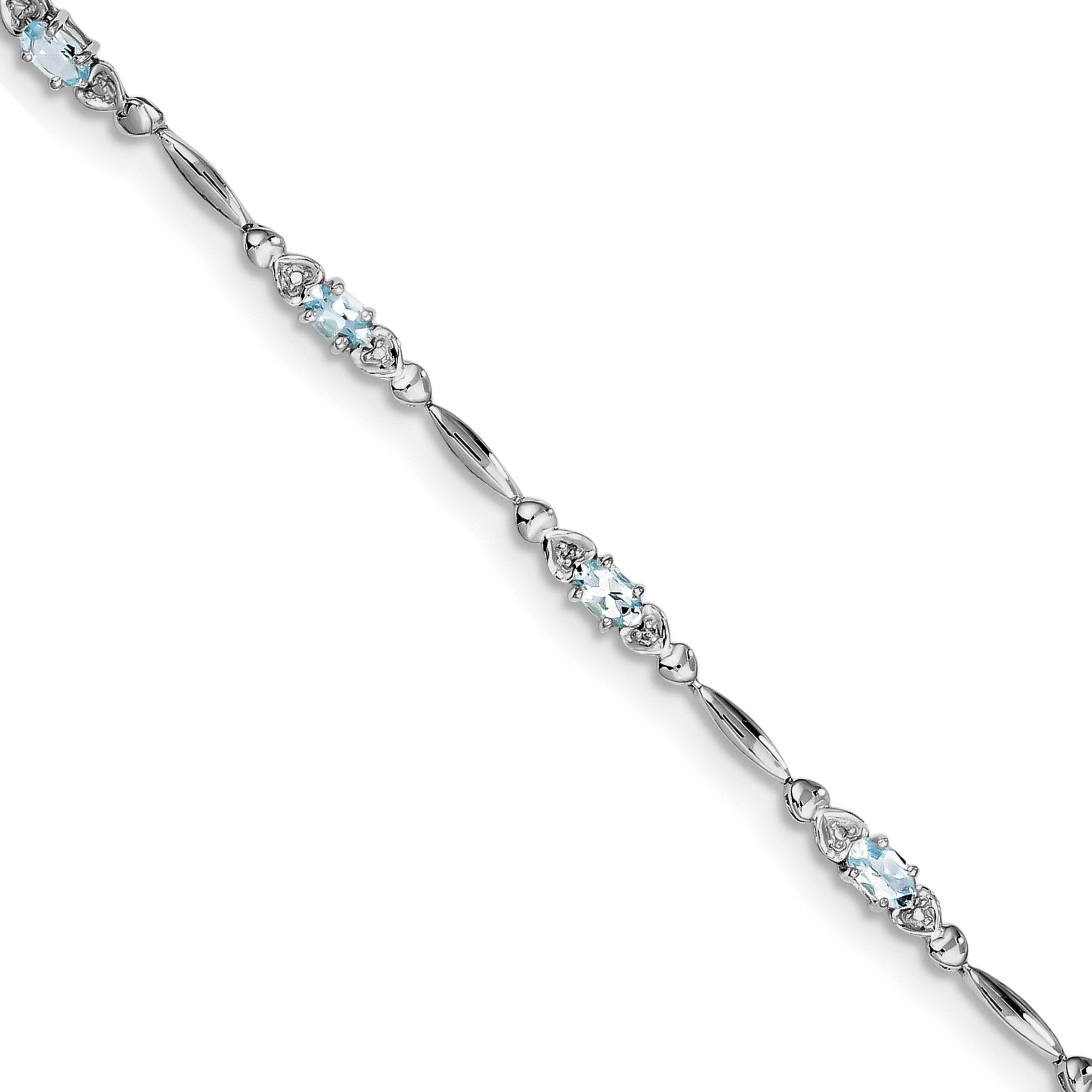 ICE CARATS 925 Sterling Silver Blue Aquamarine Diamond Bracelet 7 Inch /love Gemstone Fine Jewelry Gift Set For Women Heart