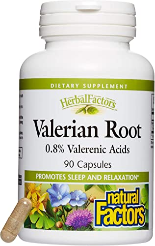 HerbalFactors by Natural Factors, Valerian Root Extract, Natural Sleep Aid for Relaxation, 90 capsules 90 servings