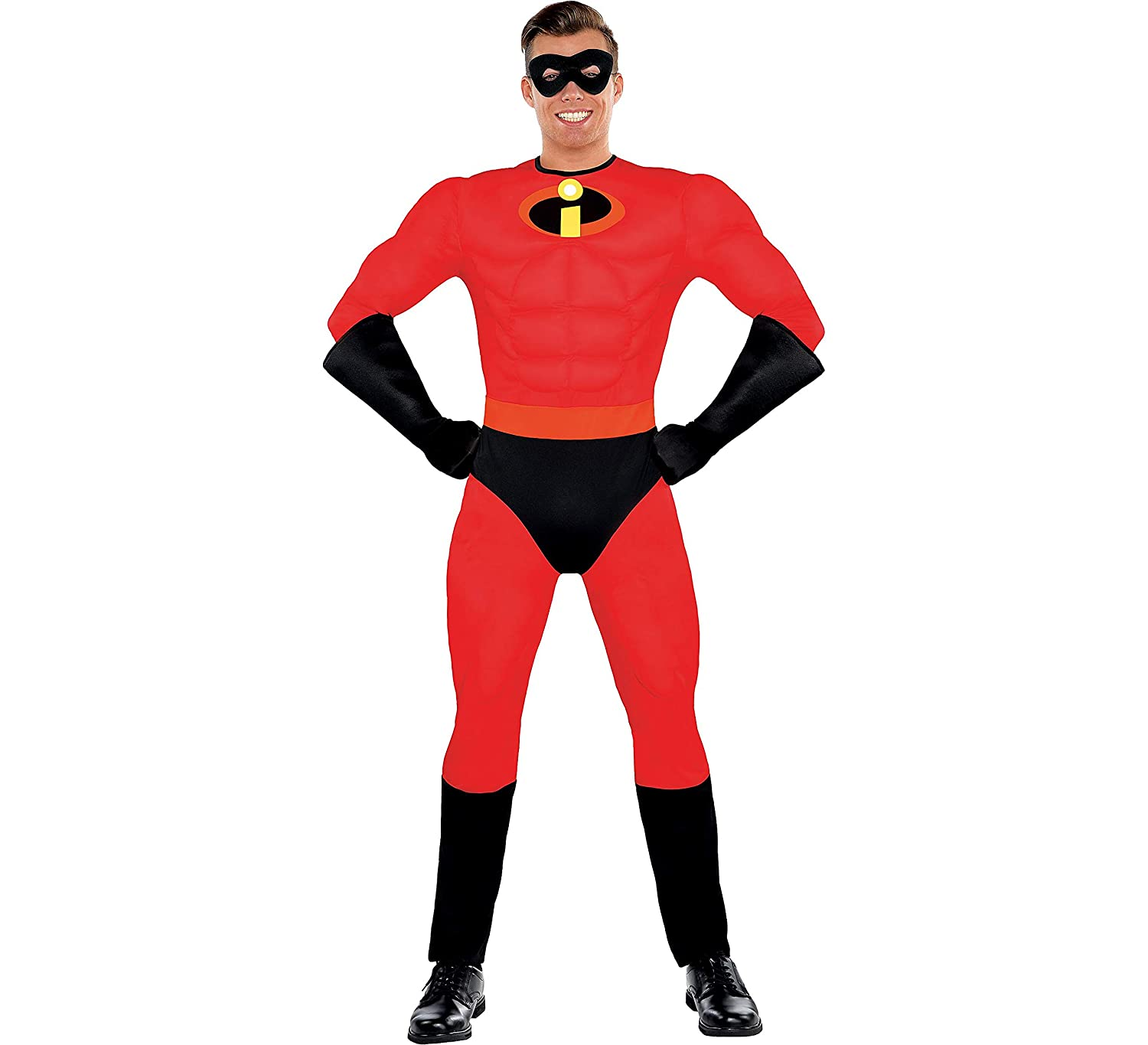 Party City The Incredibles Mr. Incredible Muscle Halloween Costume for Men, Standard, with Included Accessories