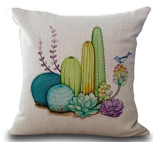 UTF4C Cactus Home Cotton Linen Throw - Fundas de cojín ...