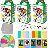 Fujifilm Instax Mini Instant Film (3 Twin Packs, 60 Total Pictures) + 60 Sticker Frames + 5 Plastic Desk Frames + 10…