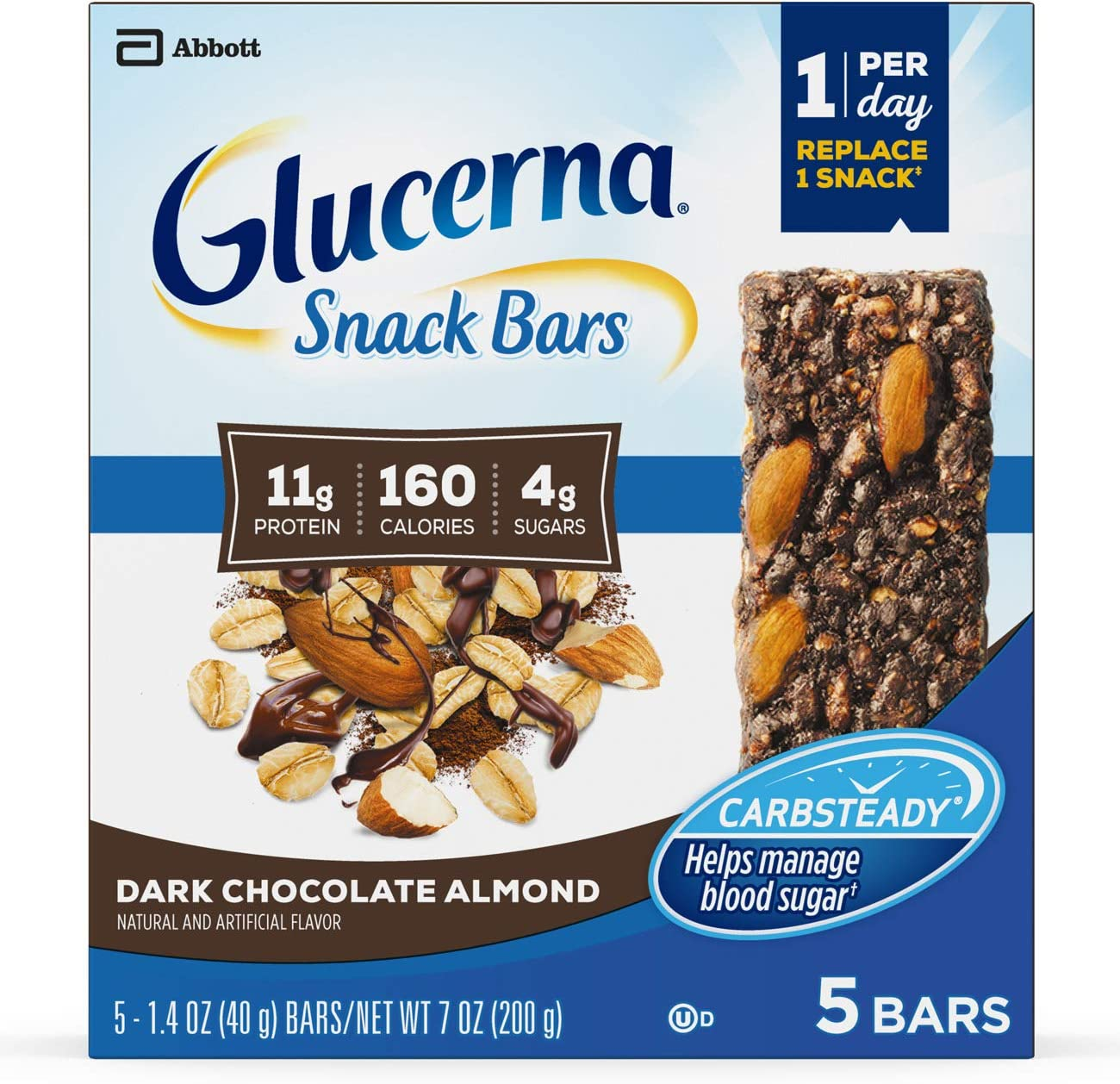 Glucerna Snack Bars, To Help Manage Blood Sugar, Diabetes Snack Replacement, Dark Chocolate Almond, 1.41-Oz bar, 20 Count
