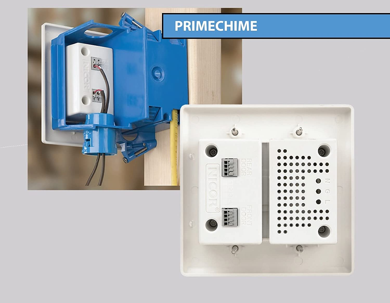 Nicor Lighting Two Door Doorbell Chime With Lighted Wiring Chimes In Parallel Rectangle Buttons 18888 Home Improvement