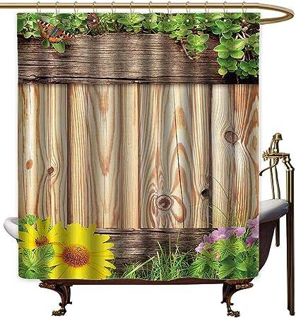 Cortinas para mampara de ducha, de madera, con diseño rústico de mariposas, para jardín, patio, verano,